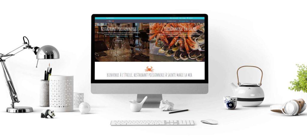 réalisation du site internet de l'Etrille restaurant à Sainte Marie la Mer