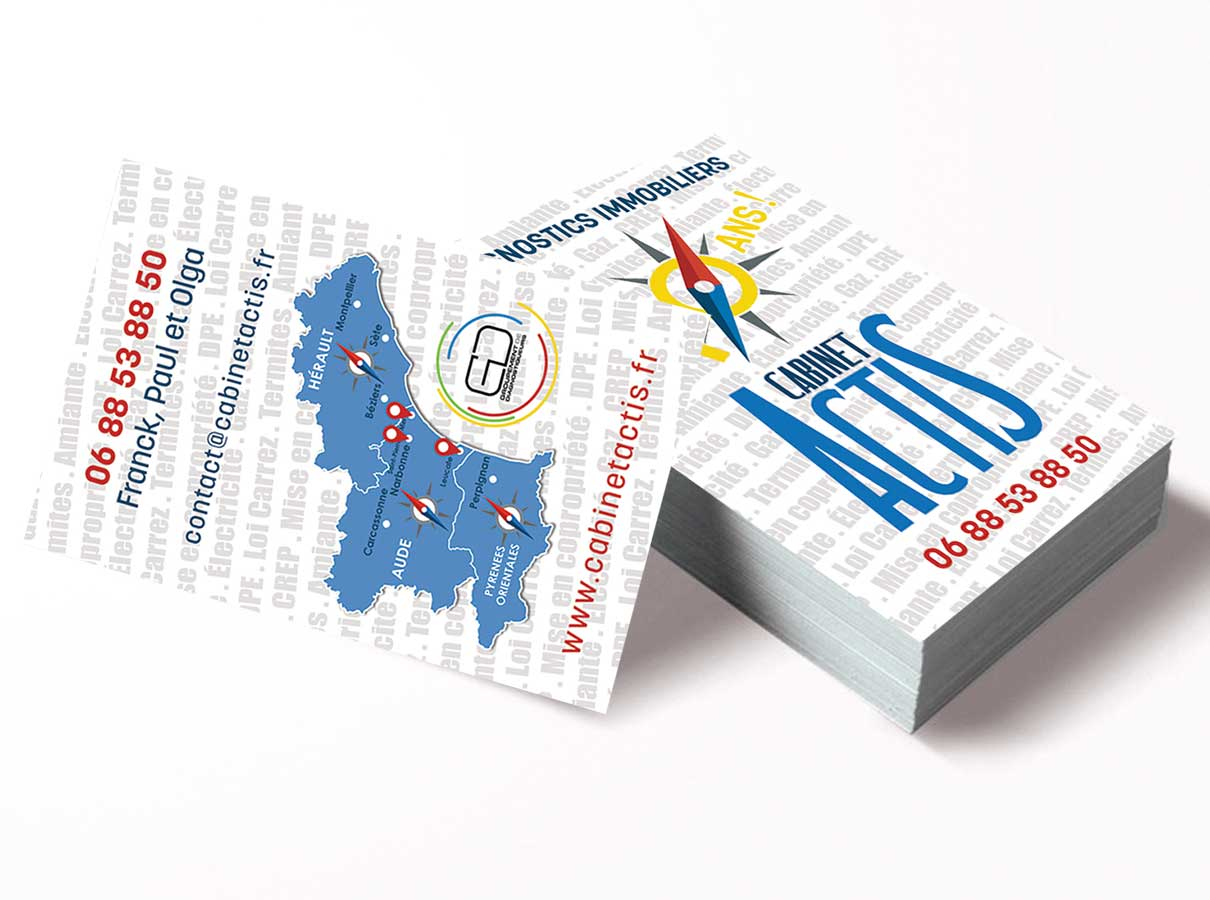 Carte de visite Actis Diagnostic Immobilier Narbonne