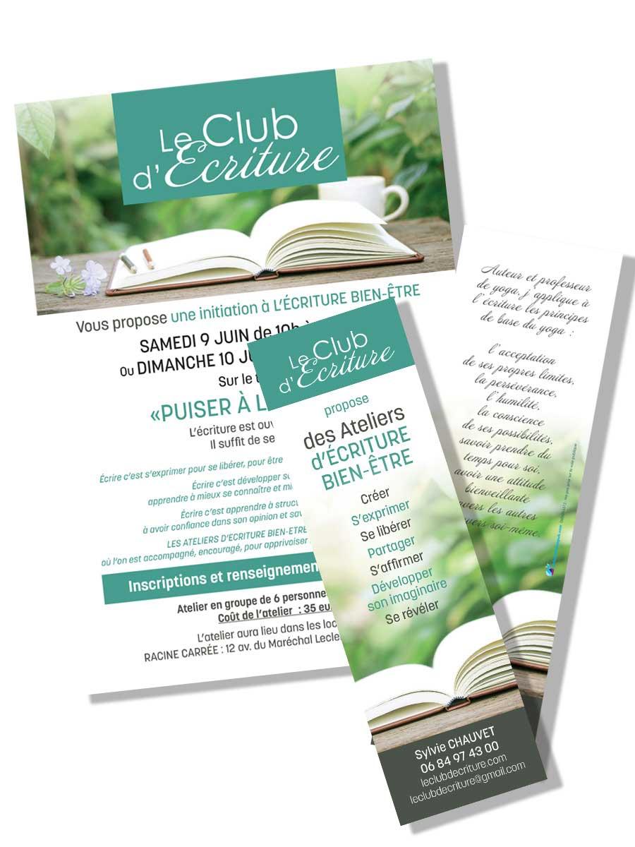 Flyer et marque page Le Club d'Écriture